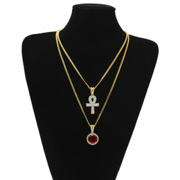 white gold cross necklace set Promo Codes - Egyptian Ankh Key of Life Bling Cross Pendant With Round Red Ruby Pendant Necklace Set Men Fashion Hip Hop Jewelry