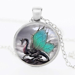 Wholesale Green Glass Art - 2014 Blue Dragon Necklace Handmade glass dome Jewelry Long art Photo Necklace Charm Fantasy wing Dragon Jewelry CN-344