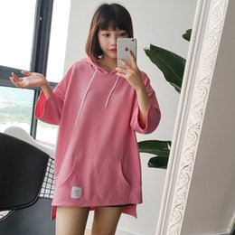 Wholesale Korean Cute Tops - harajuku shirt 2017 korean plus size cute new spring summer style off shoulder top kawaii rock pink hooded t-shirt women tops