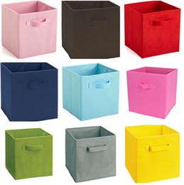 Contenedores de lona de almacenamiento de juguetes online-Caja Contenedores de lona para el hogar Textiles Lienzo Caja Libros y juguetes Necesidades diarias Almacén multifunción IC792