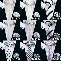 Wholesale Colored Wedding Set - Men White Silver Cream-colored TIes Wedding Party Formal Tie 25 Styles Light Color Necktie For Men Free Shipping