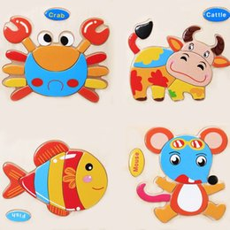 Wholesale Kid Toy Animal Jigsaw - Wholesale-Creative DIY Wooden Assembling Children's Handmade Animal Jigsaw Board Puzzle Educational Intelligence Baby Kids Toys Gifts