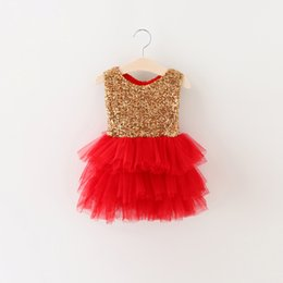 Wholesale Tutu Length Age - Wholesale- Toddler Baby Girl Dress Gold Sequin Infant Event Party Birthday Tutu Dress With Two Bow For Little Girl Formal Dress Age 0-2Y