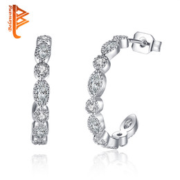 Wholesale Half Circle - BELAWANG Silver Half Circle Stud Earrings with Clear Crystal CZ Alloy Earrings Fashion Women Jewelry for Christmas Day Gift Free Shipping