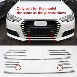 Wholesale Front Grill Cover - ABS Front Bumper Grill Grille Decoration Cover Trim For Audi A4 2017 Fog Lamp Frame Decal Rear Trunk Strip Car Styling