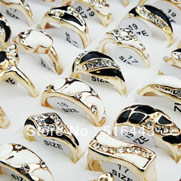 Wholesale New Arrival Gold Set - New Arrival 10pcs CZ Rhinestones Black White Enamel Gold Plated Womens Mens Rings Wholesale Fashion Jewelry A-252