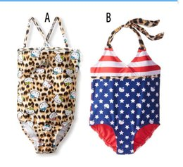Wholesale Swimsuit Children Cheap - Hot baby sunscreen swimsuit 90-13CM children flag piece swimsuit cheap quick sling summer clothes in stock free shipping 5pcs AL