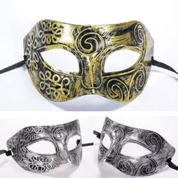 Wholesale Eye Masks Party Venice - Retro Greco-Roman Gladiator Hallowmas Venice Venetian eye mask masquerade half face antique masks Easter carving mask dance Christmas party
