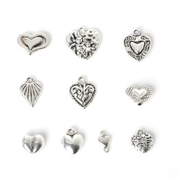Wholesale Jewelry Making Metal Heart Charms - Free shipping New 2016 New 144pcs Zinc Alloy Heart Pendants Charm Mixed Antique Silver Plated Charms Metal Jewelry Findings for DIY Making