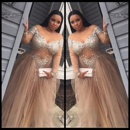 Wholesale Rhinestone Caps For Women - vestido de festa Plus Size African Prom Dresses Beaded Rhinestone A Line V Neck Long Sleeve Champagne Tulle Evening Gowns For Women