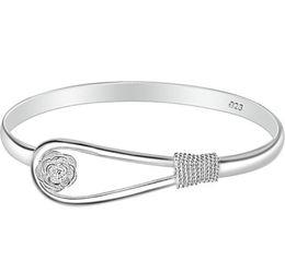 Femmes Rose Fleur Bracelet 925 Argent plaqué manchette Bracelets Mode fille de luxe Bracelets Dames Dame Bracelet Cadeaux pas cher Bijoux En Gros ? partir de fabricateur