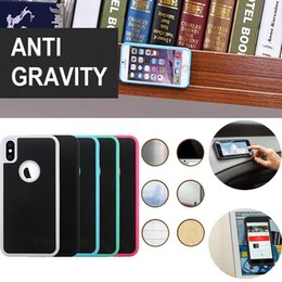 Wholesale Green Wall Coverings - Anti Gravity Case Selfie Hybrid Magical Nano Sticky Antigravity Nano Adsorption Wall Cover For iPhone X 8 7 Plus 6 6S 5S 5 Samsung Note 8 S8