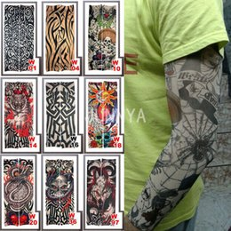 Wholesale men body painting - Wholesale- 1 pc Elastic Fake Tattoo Sleeves Designs Body Paint Arm Stockings Tattoos For Men Women Sun Protection Sleeve Tattoo