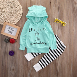 Wholesale 12 Month Girl Winter Clothes - 2017 New autumn Baby Girls Boys Clothes set Cute Cartoon Cotton Hooded Top + Striped pants 2pcs Outfits Clothing Set