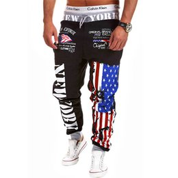 american flags pants wholesale Coupons - Wholesale-2016 New Man Pants American Flag Printed Hip-Pop Sport Trousers Casual Loose Bottoms Drawstring Cotton Joggers Harem Pants M-3XL