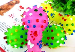 Wholesale Dog Squeeze Toys - New Arrive Dog Toys Colorful Dotted Dumbbell Shaped Dog Toys Squeeze Squeaky Faux Bone Pet Chew Toys For Dogs