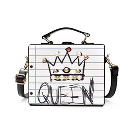 Wholesale Trunks For Women - Fashion leather box shoulder bags for women Ladies Cases graffiti shoulder strap bags letters messenger bag Tote bags high quality