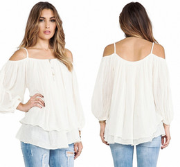 Wholesale Batwing Off Shoulder Tops - Plus Size Women Clothing 2016 New Fashion Sexy Tops Off Shoulder Long Sleeve Button Loose T-Shirts White Tops Blouse S-XL WY7001