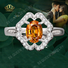 Wholesale Wholesale Citrine Rings - silver romantic synthetic yellow citrine rings AAA CZ diamond ring for women