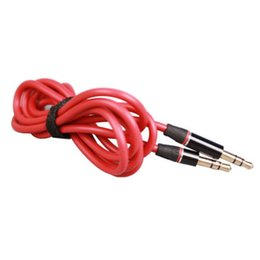 Wholesale Iphone 4s Extend - Red New 3.5mm to 3.5mm jack Round type Car Aux audio and Extended Audio Cable for iPhone 5 5S 4 4S
