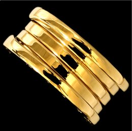 Wholesale Ring Rose Gold Silver - Fashion Titanium Stainless Steel Elastic Multiwall 3 layer Rings, Women   Men Wedding Band Jewelry--- Yellow Gold Rose Gold  Silver Colors