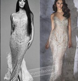 Wholesale Kim Kardashian Long Dresses - Evening dress Yousef aljasmi Labourjoisie Silver Crystals Mermaid Off shoulder Kim kardashian Long dress Kylie Jenner Zuhair murad