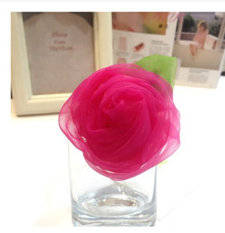 Wholesale Asian Red Fabric - new desigh headbands Crochet headband girls Hair big rose flower hair clips baby hair bow clip