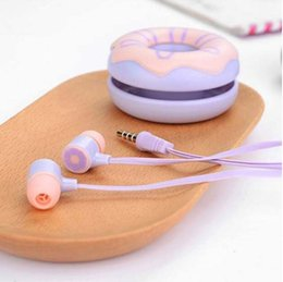 Wholesale kids mic - Cute Donuts Earphones 3.5mm In Ear Stereo Earbuds With Mic Earphone Case For iPhone MP3 MP4 Universal Girls Kid Gift Retail package
