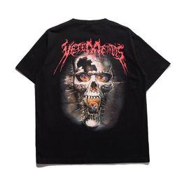 Wholesale Breathable Metal - 2017 Justin Bieber Vetements Oversized Heavy Metal Back Side Skull Print Oversize Short Sleeve Men Women Cotton T-shirt Tee