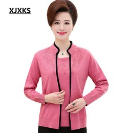 Wholesale Cashmere Suit Coat - Wholesale- 2017 spring and summer new women knitted cardigan coat loose large size cashmere true two piece suit cardigans