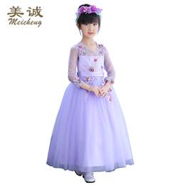 Wholesale Short Flower Skirt Bridesmaids Dresses - Long sleeve children's dresses autumn princess skirt purple flower children wedding dress walk show dress gown dress