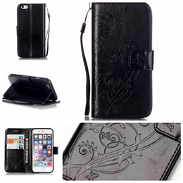 Wholesale Soft Leather 4s Card - Strap Flower Butterfly Wallet Leather Pouch Case For Iphone 8 7 I7 6 6S Plus 5 5S SE 5C 4 4S 4G Ipod Touch 5 6 TPU ID Card Stand Soft Cover