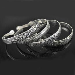 Wholesale Lucite Cuff Bracelet Vintage - Charm Bracelets For Women Dress Fashion Vintage Style Tibetan Silver Metal Carving Cuff Bracelets& Bangles