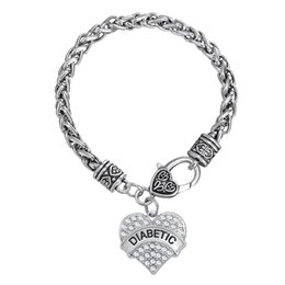 Wholesale Diabetic Charms - Myshape Hand Jewwelry Engrave DIABETIC Bracelet & Pendant Necklaces & Pendant Charms Jewelry Rhodium Plated Crystal Pendant HandJewelry