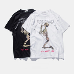 Wholesale Mens Black T Shirts - Mens 2016 summer kanye west yeezus T shirt men skull religious style Brand Wholesale Free Shipping
