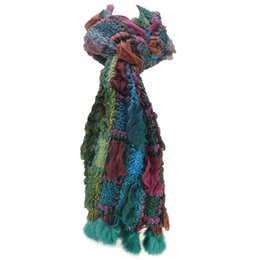 Вязаный шарф из кролика онлайн-6 цветов теплая зима шарфы новое прибытие женщин Женское цвет блок вязаный шарф с мехом кролика SF462