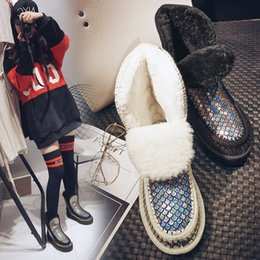 Wholesale Fishing Snow - Eu 34-43 New Mou Women Leather Fur Fish Scales Waterproof Antiskid Slip-on Snow Boots Outdoor Thicken Shoes Plus Size US 5-9.5