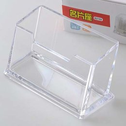 Wholesale Wholesale Transparent Business Cards - Free Shipping 6pcs Business Card Holders Transparent Plastic Office Destop ID Card Organizer Company Office Supplies Papelaria