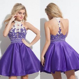 Wholesale Little Girl Sexy Fashion - Fashion Homecoming Short Prom Dresses Halter Neck Pearls Elegant Sleeveless Sequin Beading Appliques Sweet Girls Wear High Quality Formal