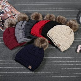 Wholesale Black Cashmere Yarn - Unisex CC Trendy Hats Winter Knitted Fur Poms Beanie Label Fedora Luxury Cable Slouchy Skull Caps Fashion Leisure Beanie Outdoor Hats F898-1