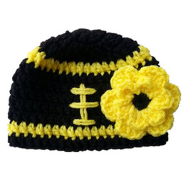Wholesale Football Photo Prop - Crochet Football Beanie Handmade Knit Baby Girl Football Team Hat with Flower Infant Newborn Photo Props Toddler Winter Hat Baby Shower Gift