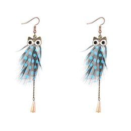 Wholesale Buy Silver Plate - hot buy!Fashion Han edition Bohemian fashion Blue, black and white and mei red orange female temperament tassel earrings owl feathers