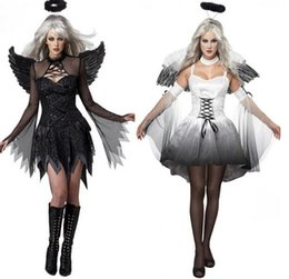 Wholesale Party Fantasia - 2017 New Women Fantasia Halloween Costumes Fantasy Cosplay Party Fancy Dress Adult Fallen Angel Costume With Angel Wings