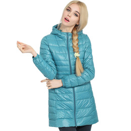 Wholesale Slim Thin Down Jacket - Wholesale-women winter coat 2016 Top Quality Brand Ladies Long Women coats Ultra Light 90% White Duck Down Coat With Bag women Jackets