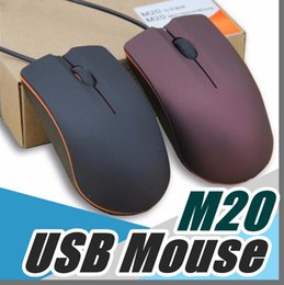Wholesale Laptops Lenovo - Lenovo M20 USB Optical Mouse Mini 3D Wired Gaming Manufacturer Mice With Retail Box For Computer Laptop Notebook C-SJ