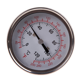 Wholesale Oven Thermometer Steel - Stainless Steel Analog Thermometer Gauge for Oven Grill BBQ Dual Scale Instant Read Probe Food Cooking New Meat Gauge