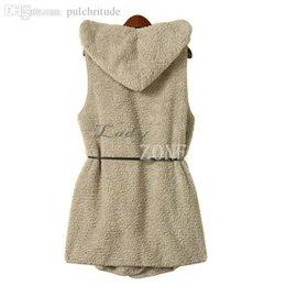 Wholesale Ladies Fur Coats Wholesale - Wholesale-Fashion Womens Ladies Hoodie Faux Lamb Fur Long Vest Jacket Coat With Hat 5 Colors 36