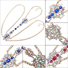 Wholesale Chunky Gem Jewelry - Long Body Chain DIY Sexy Gem Flower Summer Luxury Women Statement Necklace & Pendant Chunky Party Jewelry Vintage Maxi Necklace
