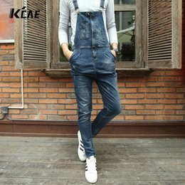 Wholesale Cowboy Bib - fashion bib denim overalls for men 2016 Brand long solid blue slim cowboy overall cotton skinny overalls men's jeans Size