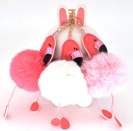 artificial rings women Coupons - Hawaiian cocktail Wedding Birthday Hen Party Favors Flamingo Keychain Fluffy Artificial Rabbit Fur Ball Key Chain Women Car Bag Key Ring
